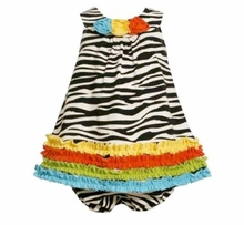 Bonnie Jean Baby Girls Zebra Knit Print Rusching Dress CLEARANCE