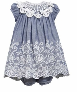 Bonnie Jean Baby-Infant Blue Chambray Lace Collar Dress