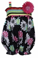 Bonnie Jean Baby-Infant Girl's Black Floral Romper