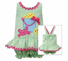 Bonnie Jean Baby-Infant Lime Beach Bucket Seersucker One Piece - SOLD OUT
