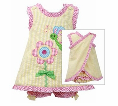 Bonnie Jean Baby-Infant Yellow Bee Flower Crossover Seersucker - Out of Stock