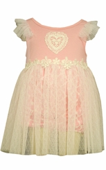 Bonnie Jean Baby Pink Heart Lace Tulle Dress