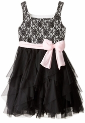 Bonnie Jean Big Girl's Black Cascade Dress Pink Bow