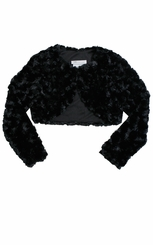 Bonnie Jean Big Girl's Black Faux Fur Cardigan Jacket