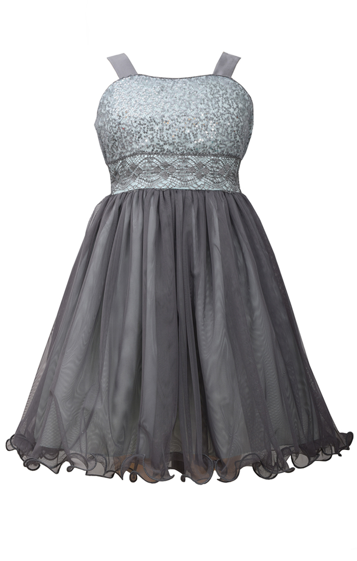 bonnie jean big grey sequin to tulle dress
