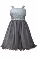 Bonnie Jean Big Girls' Grey Sequin to Tulle Dress