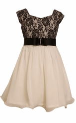 Bonnie Jean Big Girl's Ivory and Black Lace Dress