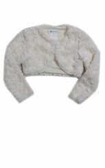 Bonnie Jean Big Girl's Ivory Faux-Fur Shrug