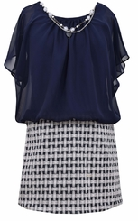 Bonnie Jean Big Girl's Navy Box Knit Jaquard  Dress