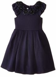 Bonnie Jean Big Girl's Navy Knit Rosette Dress