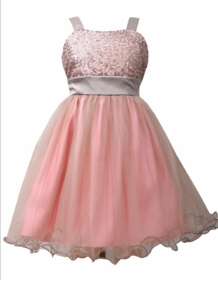 Bonnie Jean Big Girl's Pink Sequin to Tulle Dress
