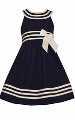 Bonnie Jean Big Girl's UNeck Navy Nautical Dress