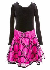 Bonnie Jean Big Girls 7- 16 Fuchsia Circles Hipster Dress
