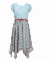 Bonnie Jean Big Girls Aqua Chevron Dress