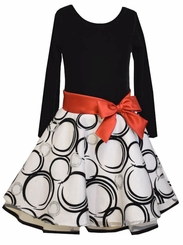 Bonnie Jean Big Girls Black Circles Hipster Dress with Red Bow