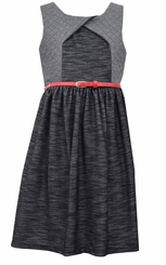 Bonnie Jean Big Girls Black Knit Heather Dress