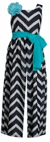 Bonnie Jean Big Girls Black White Chevron Jumpsuit