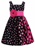Bonnie Jean Big Girls Crossover Black Fuchsia Shantung Dress - SOLD OUT