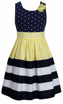 Bonnie Jean Big Girls Dot Stripe Banded Yellow Dress