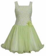 Bonnie Jean Big Girls Dress Lime Brocade - SOLD OUT