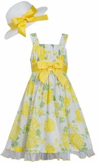 Bonnie Jean Big Girls Summer Floral Dress And Hat