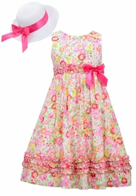 Bonnie Jean Big Girls Floral Dress and Hat : Pink Floral