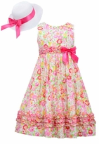 Bonnie Jean Big Girls Easter Dress and Hat : Pink Floral