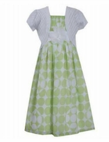Bonnie Jean Big Girls Girls Green Chiffon Pointelle Cardigan Dress