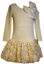 Bonnie Jean Big Girls Gold Knit Dress