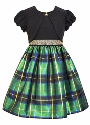 Bonnie Jean Big Girls Green Taffeta Plaid Jacket Dress
