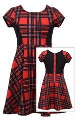 Bonnie Jean Big Girls Holiday Red Plaid Zipper Dress