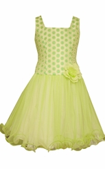 Bonnie Jean Big Girls Lime Brocade Party Formal Dress