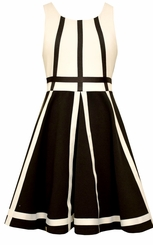 Bonnie Jean Big Girls Modern Black and White Contrast Banding Dress