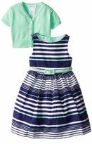 Bonnie Jean Big Girls Multi Stripe Mint Cardigan Easter Dress