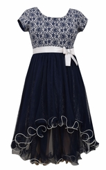 Bonnie Jean Big Girls Navy Chiffon Hi Low Dress