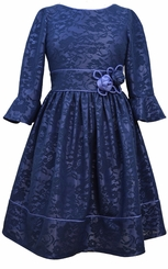 Bonnie Jean Big Girls Navy Lace Bell Sleeve Dress