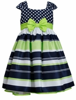 Bonnie Jean Big Girls Navy Lime Stripe Dot Dress