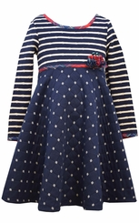 Bonnie Jean Big Girls Navy Quilt Knit Dress