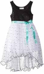 Bonnie Jean Big Girls Party Dress : White Black Sequin Dress SOLD OUT
