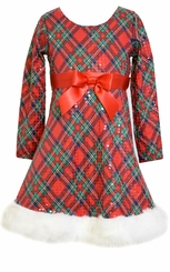Bonnie Jean Big Girls Plaid Sequin Fur Trim Holiday Dress