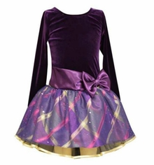 Bonnie Jean Big Girls Purple Velour Sash Hipster Dress