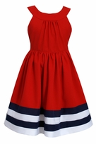 Bonnie Jean Big Girls Red Nautical U Neck Dress