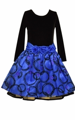 Bonnie Jean Big Girls Royal Blue Black Velour Hipster Dress