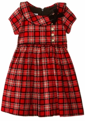 Bonnie Jean 4-16 Red Plaid Collar Dress CLEARANCE