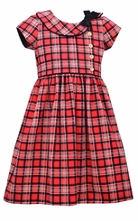 Bonnie Jean Big Girls Short Sleeve Plaid Collar Dress