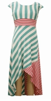 Bonnie Jean Big Girls Striped Mint Pink Hi Low Dress