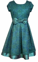 Bonnie Jean Big Girls Teal Metallic Lace Dress