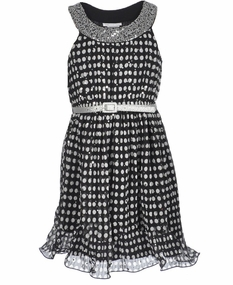 Bonnie Jean Big Girls U-Neck Polka Dot Wire Hem Belted Dress