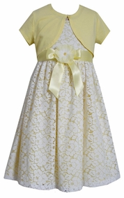 Bonnie Jean Big Girls Yellow Shrug Lace Floral Dress sold out