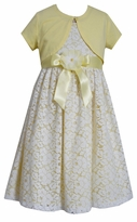 Bonnie Jean Big Girls Yellow Shrug Lace Floral Dress